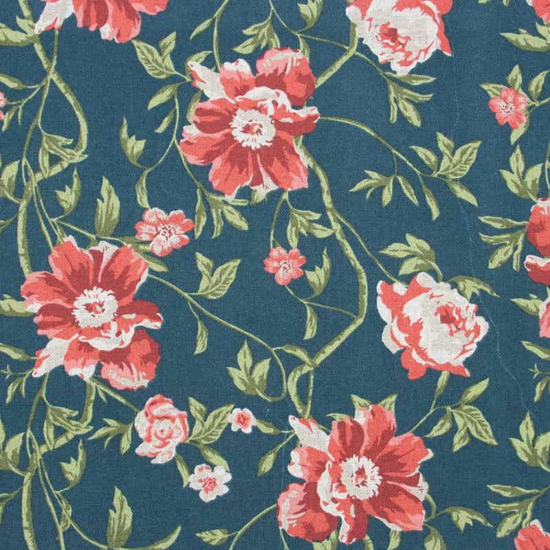 Tecido Impermeável Estampado - Floral Vermelho - 50cm x 140cm
