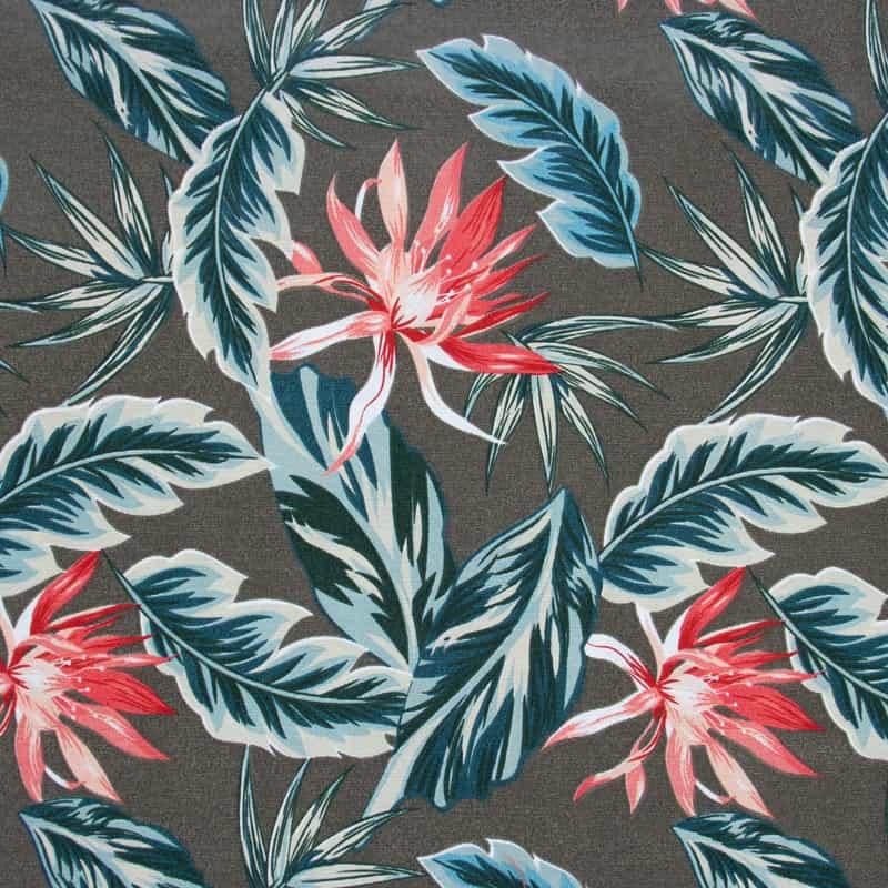 Tecido Impermeável Estampado - Hibiscos Vermelho - 50cm x 140cm
