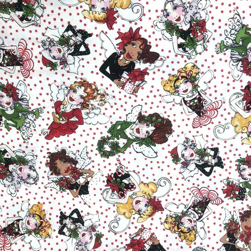 Tecido Importado - Estampa Menina  Natal Com Poá - 50cm x 110cm