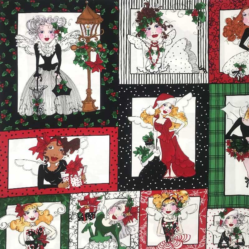 Tecido Importado - Painel Menina Natal - 60cm x 110cm