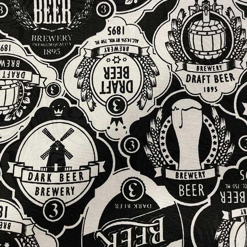 Tecido Jacquard - Beer Preto e Branco - 50cm x 140cm