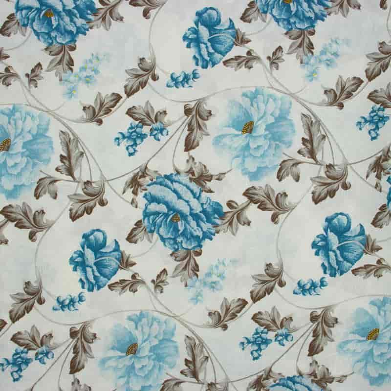 Tecido Jacquard Estampado - Floral Azul - 50cm X140cm