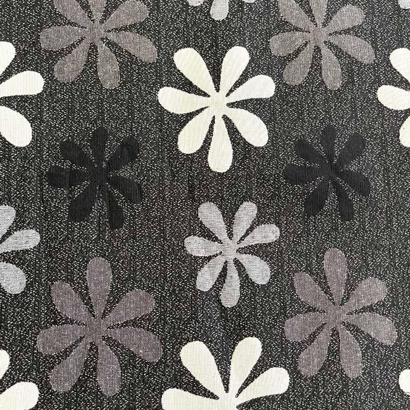 Tecido Jacquard Fio Tinto -Floral Preto - 50cm x 140cm