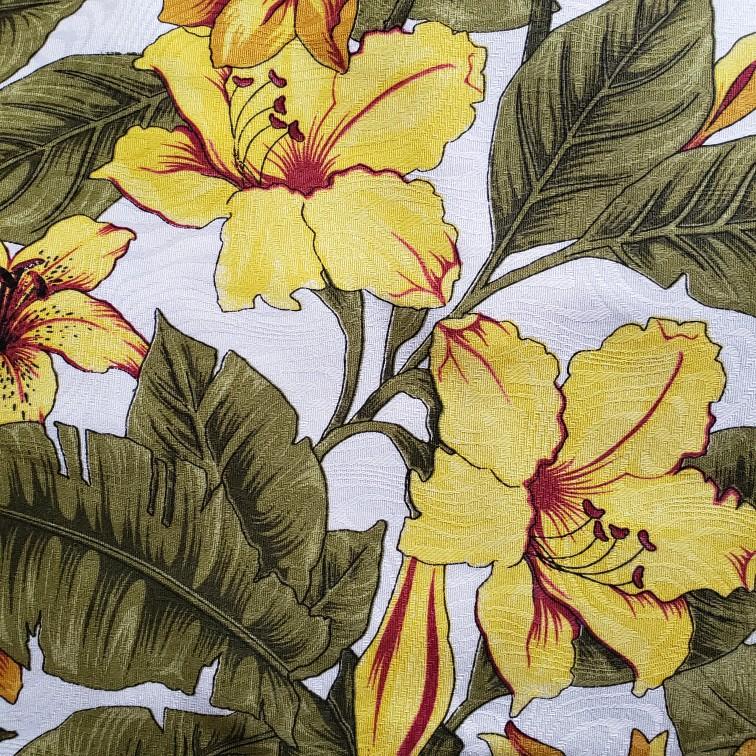 Tecido Jacquard - Floral Amarelo - 50cm x 140cm