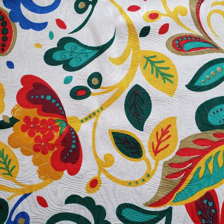 Tecido Jacquard - Floral Colorido - 50cm x 140cm