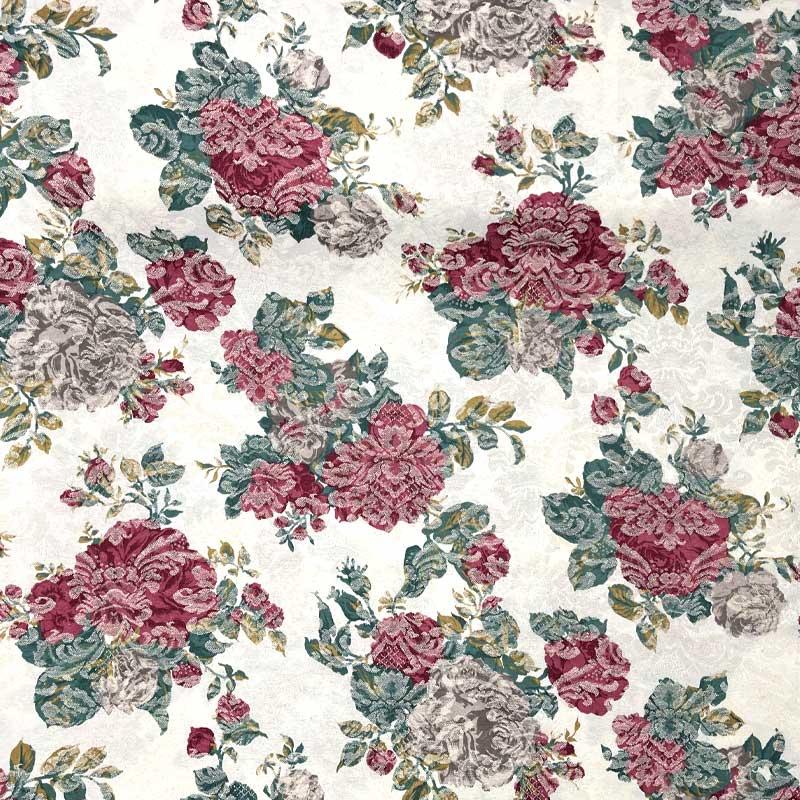 Tecido Jacquard - Floral Rosas - 50cm x 140cm