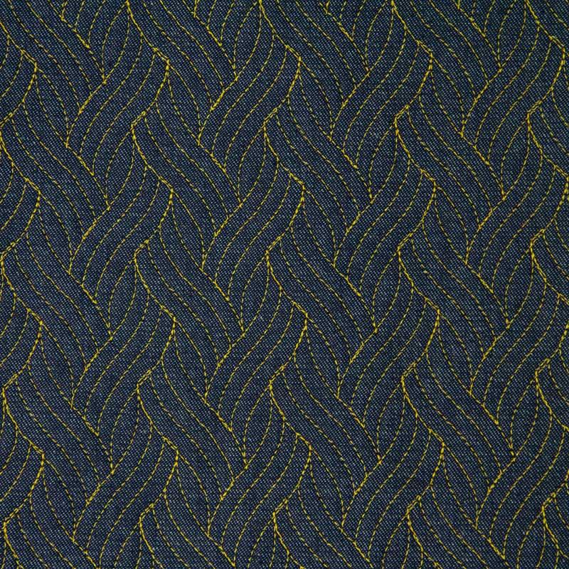 Tecido Matelassado Jeans Trança Linha Amarela - 50cm X 150cm
