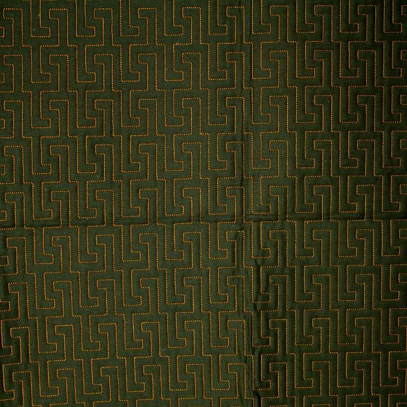 Tecido Matelassado Sarja Labirinto Verde Escuro  - 50cm X 150cm