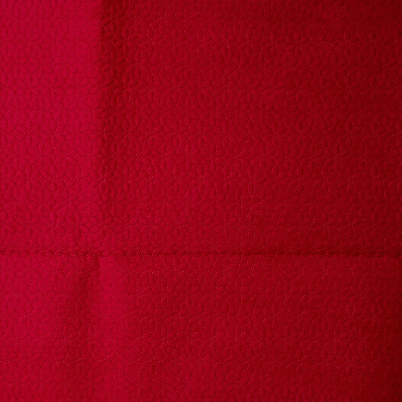 Tecido Matelassado Sarja Vermelho Aveludado Mini Floral  - 50cm X 150cm