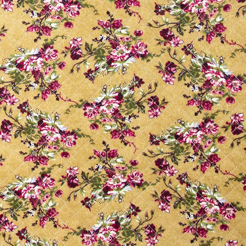 Tecido Matelassado Tricoline Digital Floral Fundo Marrom - 50cm X 150cm