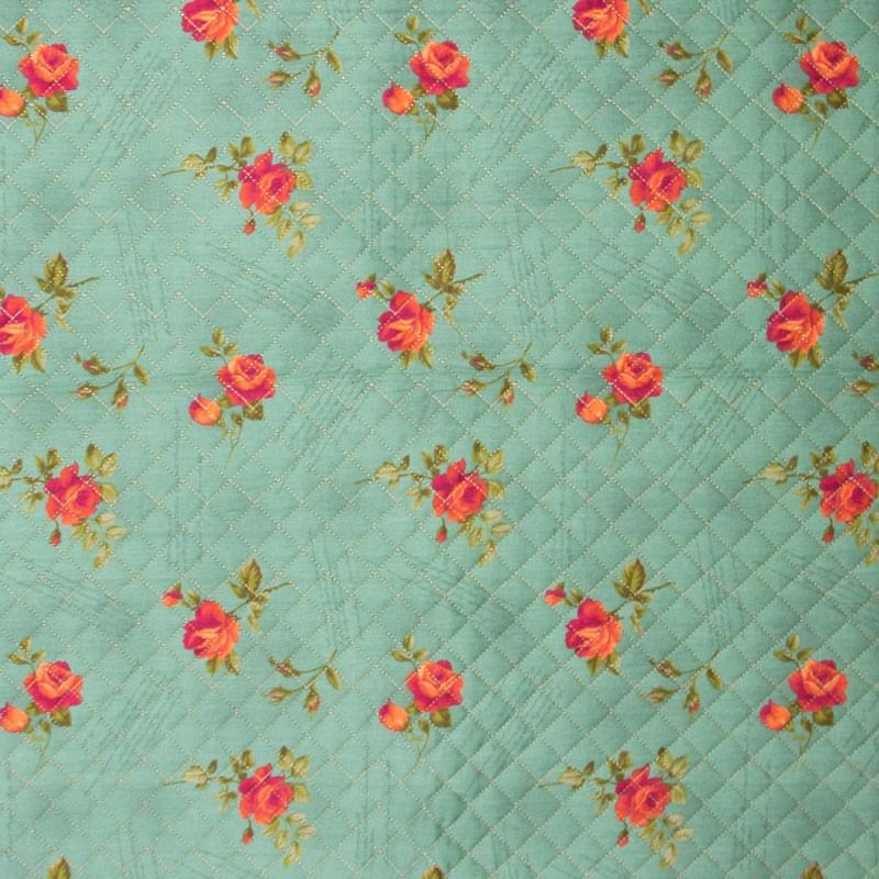 Tecido Matelassado Tricoline Rosas Fundo Verde Água - 50cm X 150cm