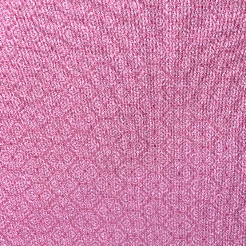 Tecido Rústico Algodão - Arabesco Rosa - 50cm x 140cm