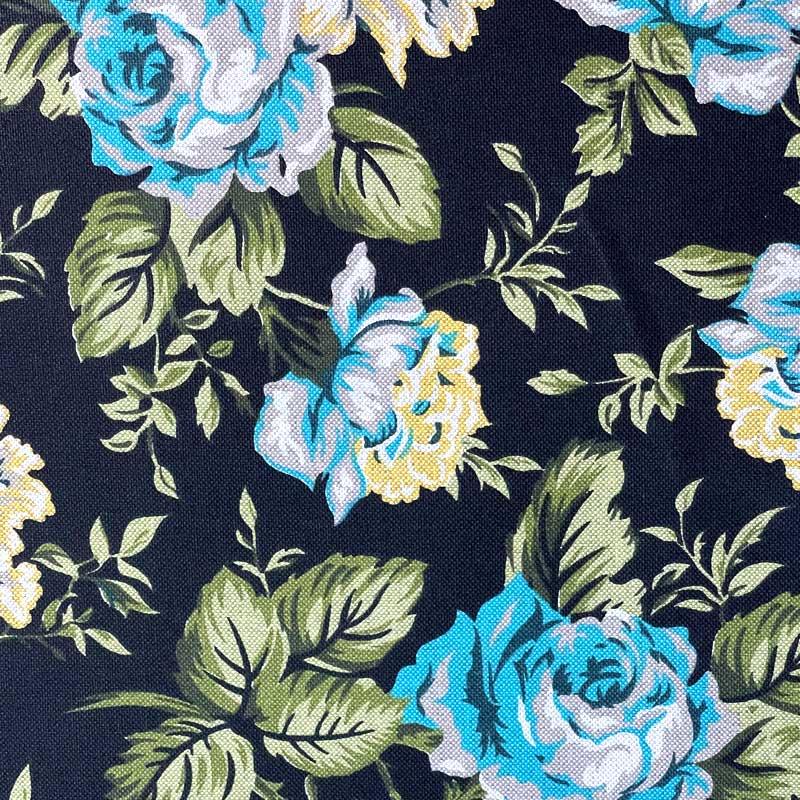 Tecido Rústico Algodão - Floral Fundo Preto - 50cm x 140cm