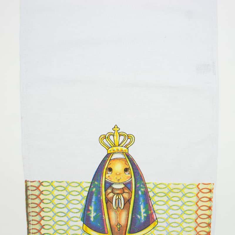 Tecido Sacaria Pano de Copa Ecumênico Com Bainha N. Sra. Aparecida  - 72cm x 45cm