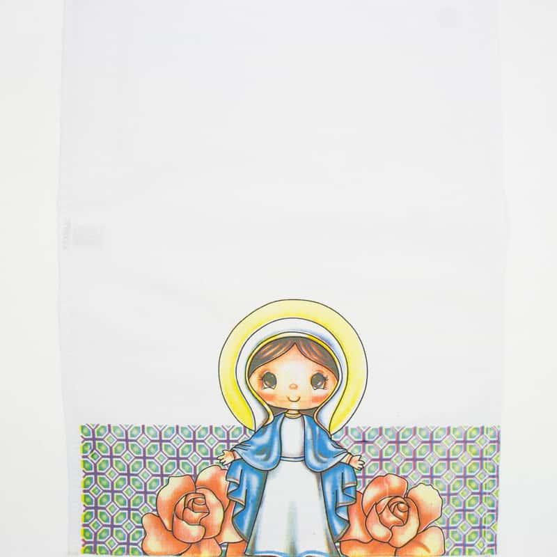 Tecido Sacaria Pano de Copa Ecumênico Com Bainha N. Sra. das Graças  - 72cm x 45cm