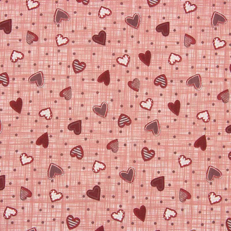 Tecido Tricoline 100% Algodão Estilotex - Estampa Corações - 50cm x 150cm