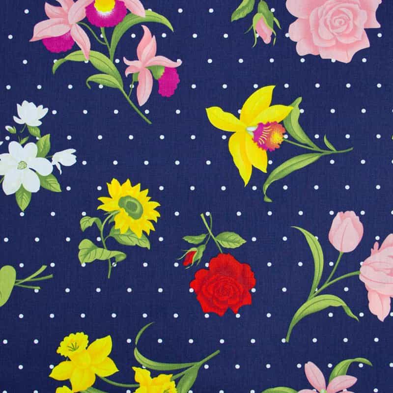 Tecido Tricoline 100% Algodão Estilotex - Estampa Floral Big - 50cm x 150cm