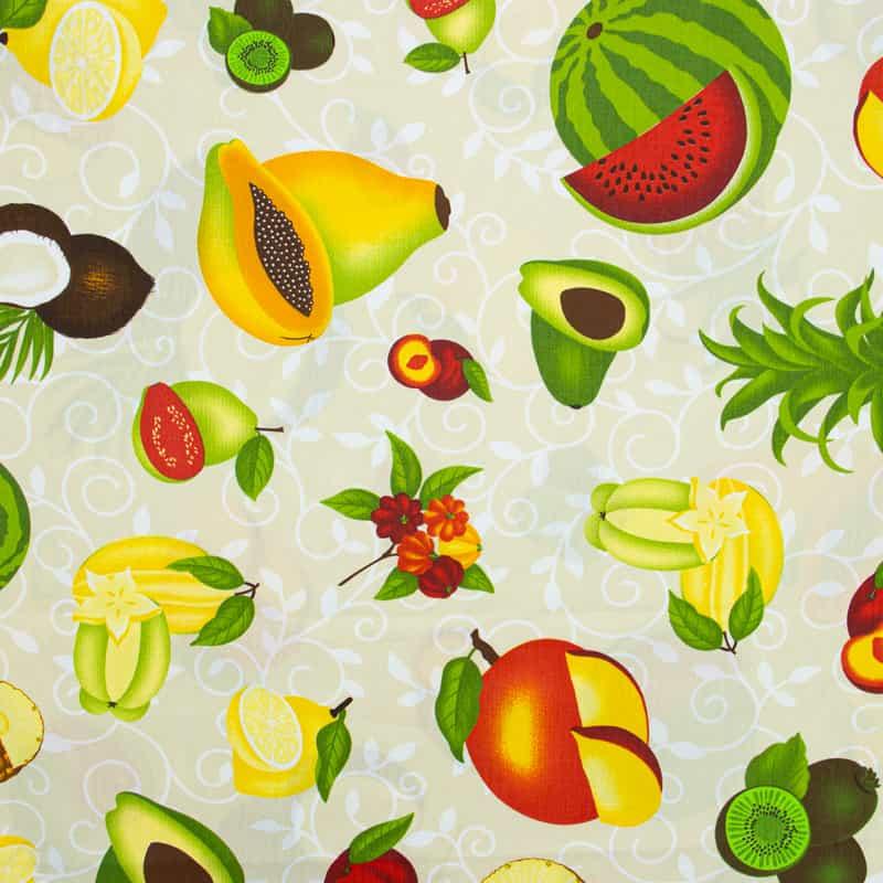 Tecido Tricoline 100% Algodão Estilotex - Estampa Frutas Big - 50cm x 150cm