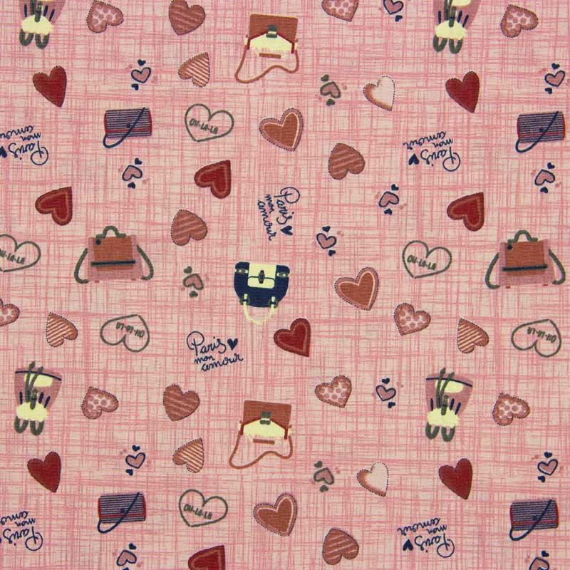 Tecido Tricoline 100% Algodão Estilotex - Estampa Love Bags - 50cm x 150cm