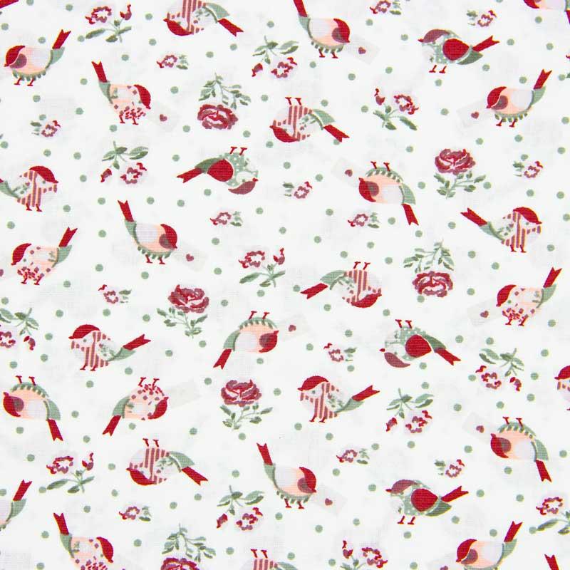 Tecido Tricoline 100% Algodão Estilotex - Estampa Pássaros Mon Amour - 50cm x 150cm