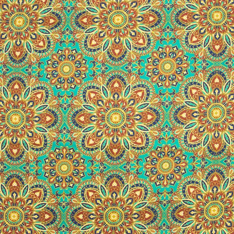 Tecido Tricoline Digital Estampado - Mandalas Amarela - 50cm X150cm