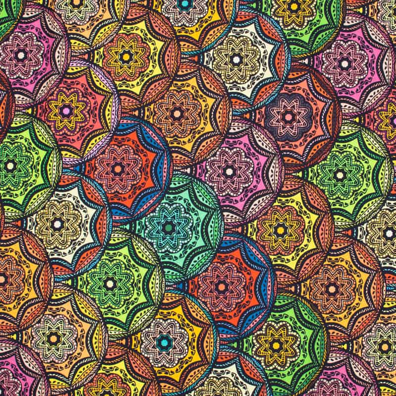 Tecido Tricoline Digital Estampado - Mandalas Coloridas - 50cm X150cm