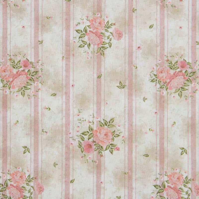 Tecido Tricoline Digital Estampado - Provence Floral Listra Rosa - 50cm X150cm