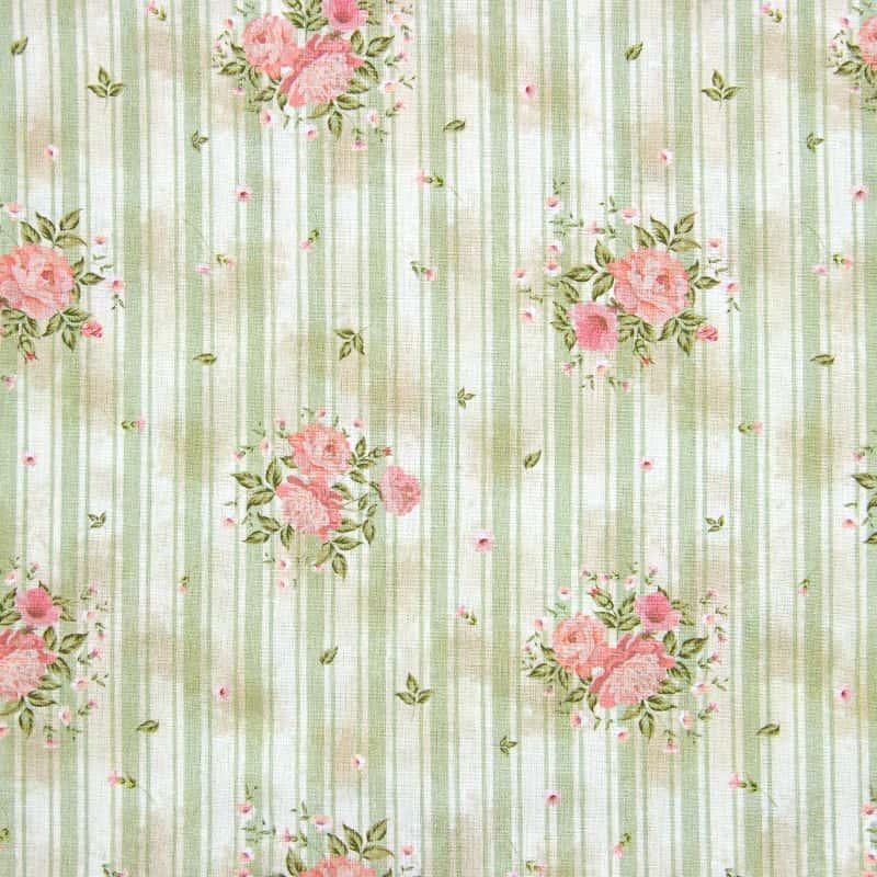 Tecido Tricoline Digital Estampado - Provence Floral Listra Verde - 50cm X150cm