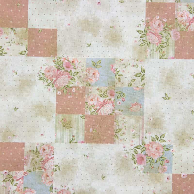 Tecido Tricoline Digital Estampado - Provence Floral Patchwork - 50cm X150cm