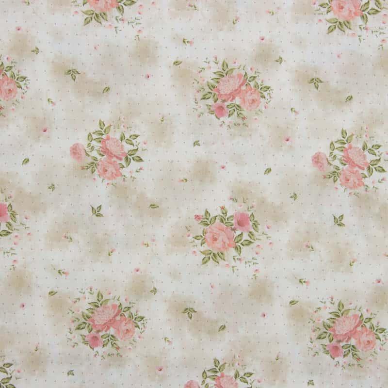 Tecido Tricoline Digital Estampado - Provence Floral Rosa - 50cm X150cm