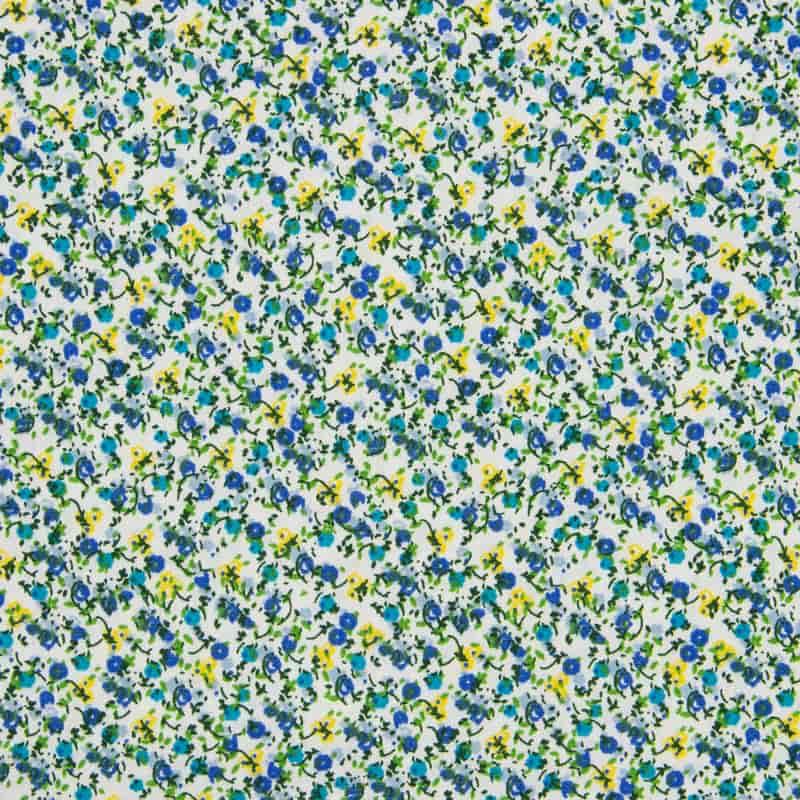 Tecido Tricoline Estampa - Mini Floral Azul - 50cm X150cm