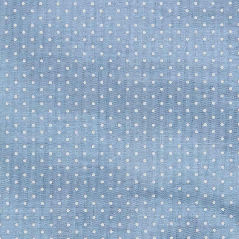 Tecido Tricoline Estampa - Poá Azul Bebê - 50cm X150cm