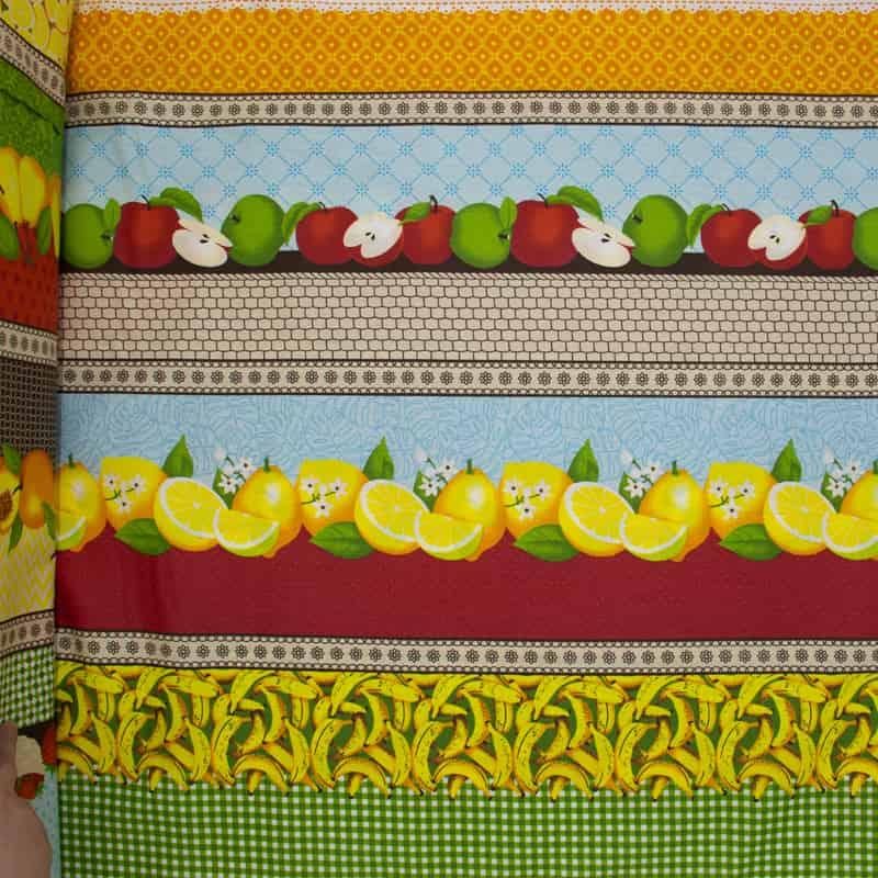 Tecido Tricoline Estampado - Barrado Duo Frutas  - 50cm X150cm