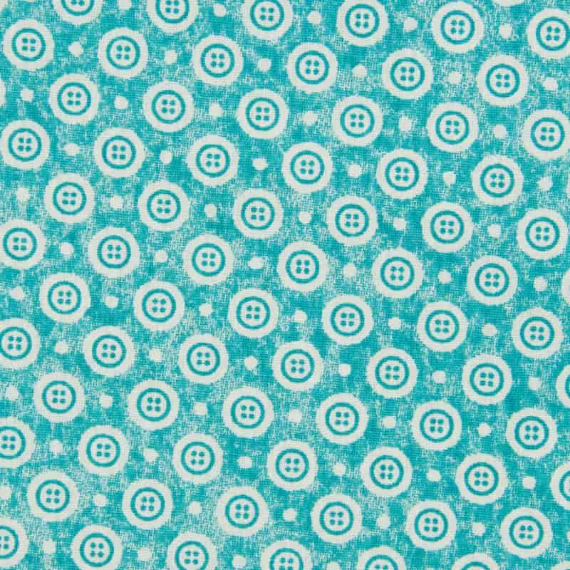 Tecido Tricoline Estampado - Botões de Costura - 50cm X150cm