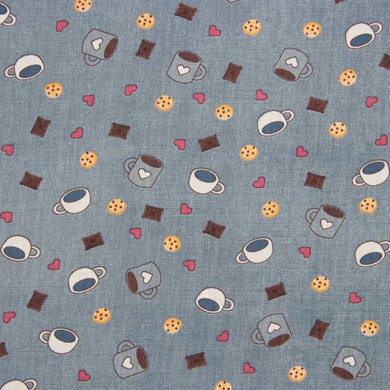 Tecido Tricoline Estampado - Canecas Com Café - 50cm X150cm