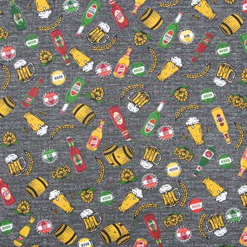 Tecido Tricoline Estampado - Cervejas - 50cm X150cm