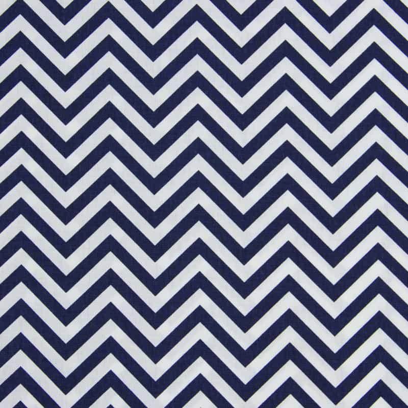 Tecido Tricoline Estampado - Chevron Azul Marinho - 50cm X150cm