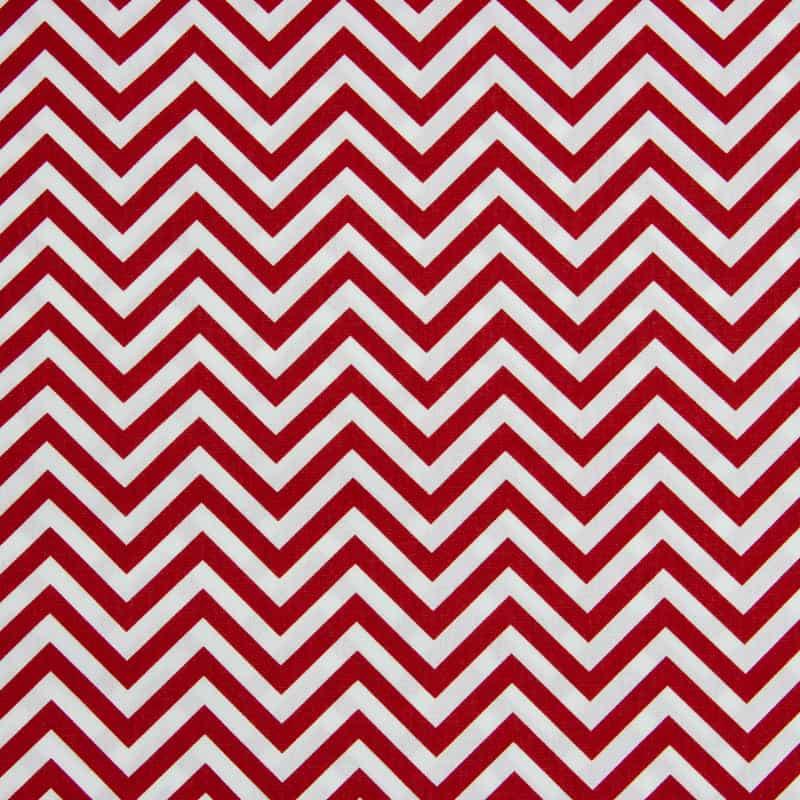 Tecido Tricoline Estampado - Chevron Azul Vermelho - 50cm X150cm