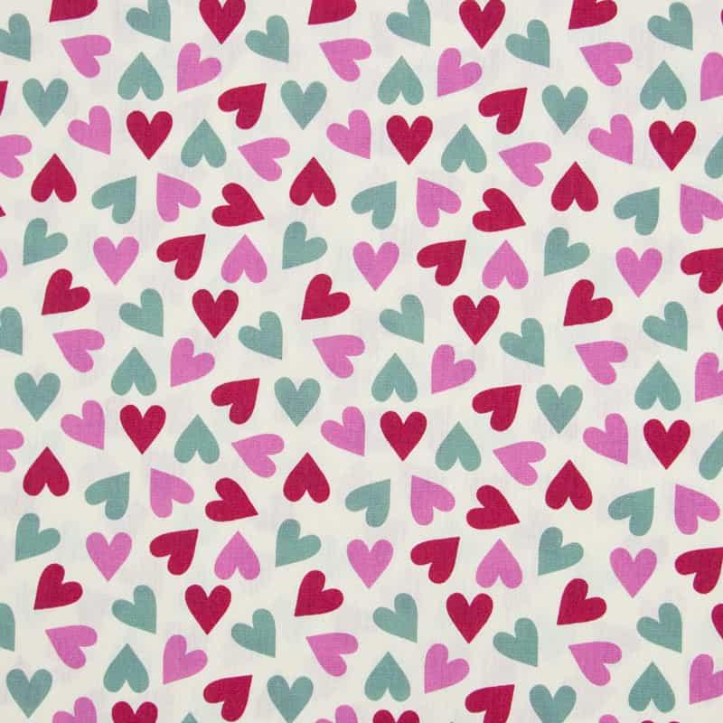 Tecido Tricoline Estampado - Corações Coloridos - 50cm X150cm