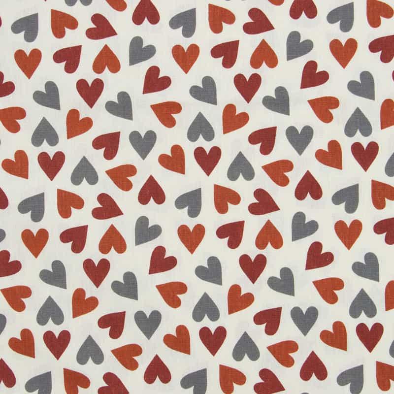 Tecido Tricoline Estampado - Corações Old - 50cm X150cm