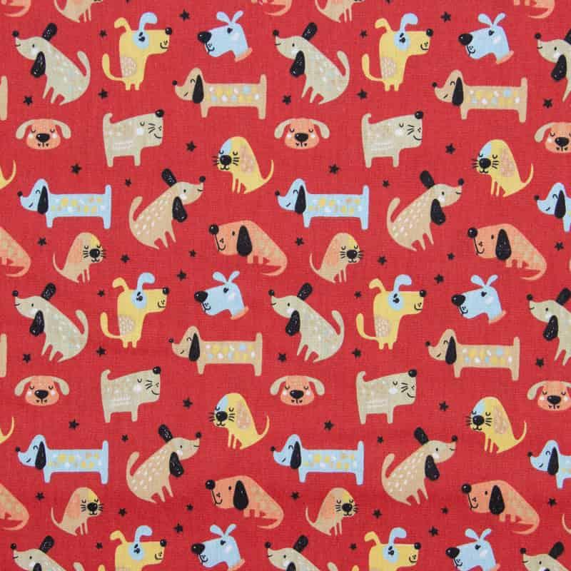 Tecido Tricoline Estampado - Dogs Fundo Vermelho - 50cm X150cm