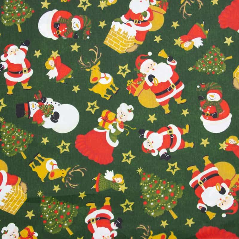 Tecido Tricoline Estampado Natal - Festa Natalina - 50cm X150cm