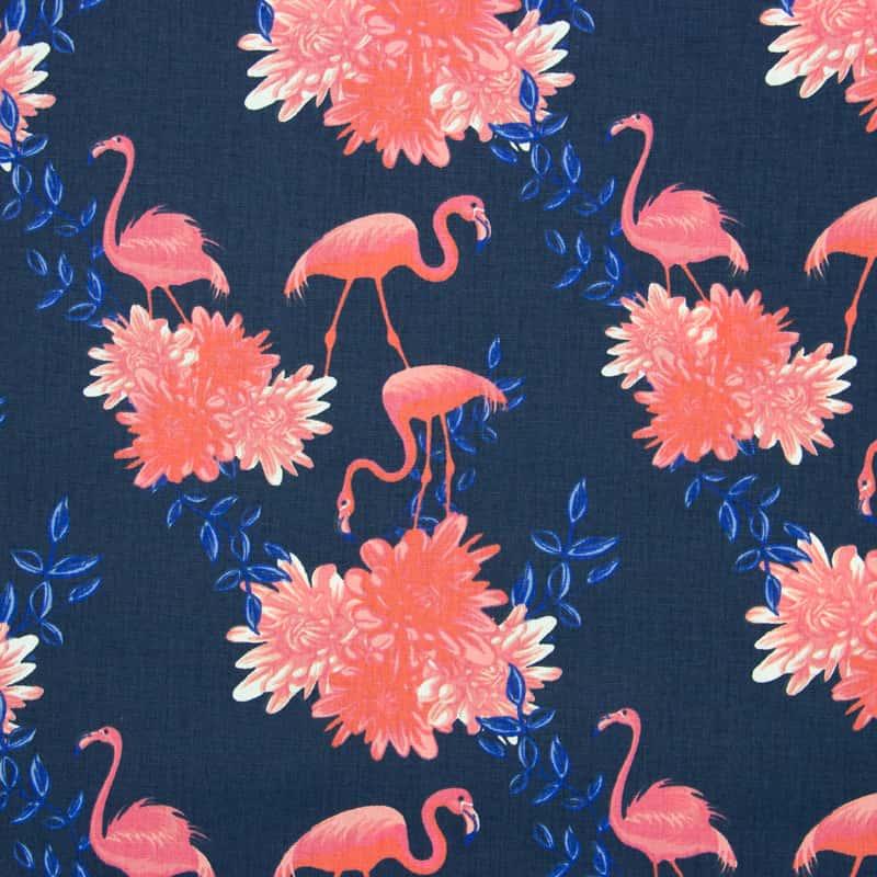 Tecido Tricoline Estampado - Flamingos Com floral - 50cm X150cm