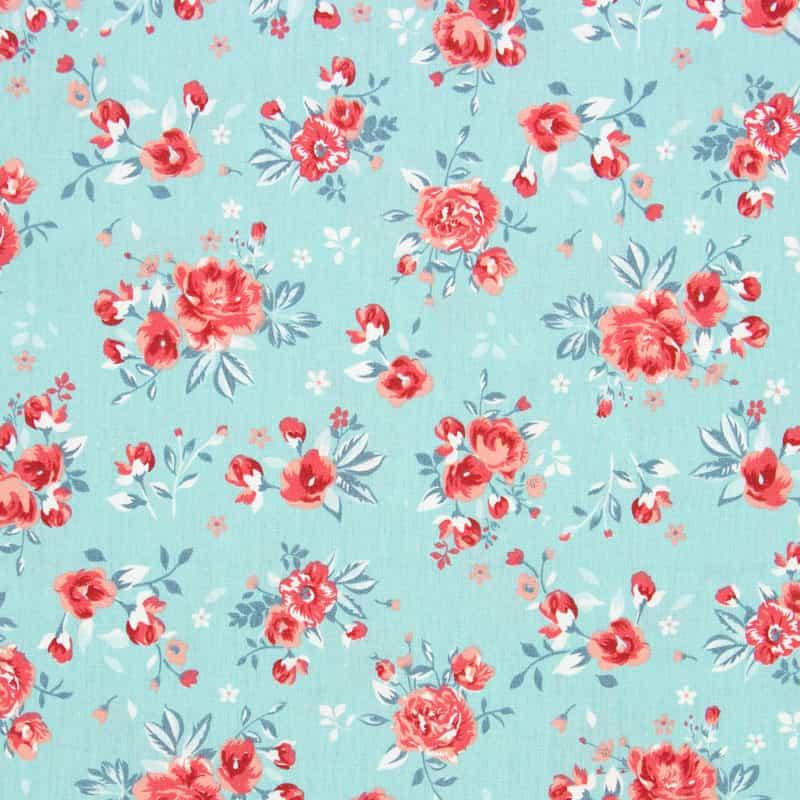 Tecido Tricoline Estampado - Floral Tiffany - 50cm X150cm