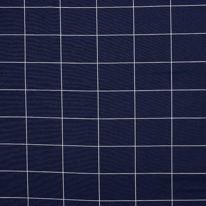 Tecido Tricoline Estampado - Grid Marinho - 50cm X150cm