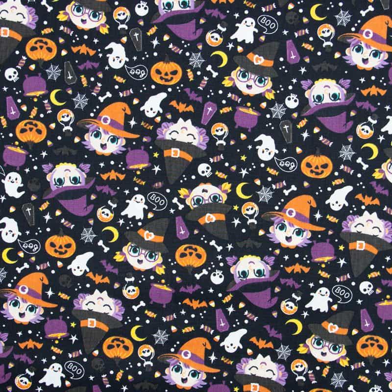 Tecido Tricoline Estampado - Halloween Bruxas - 50cm X150cm