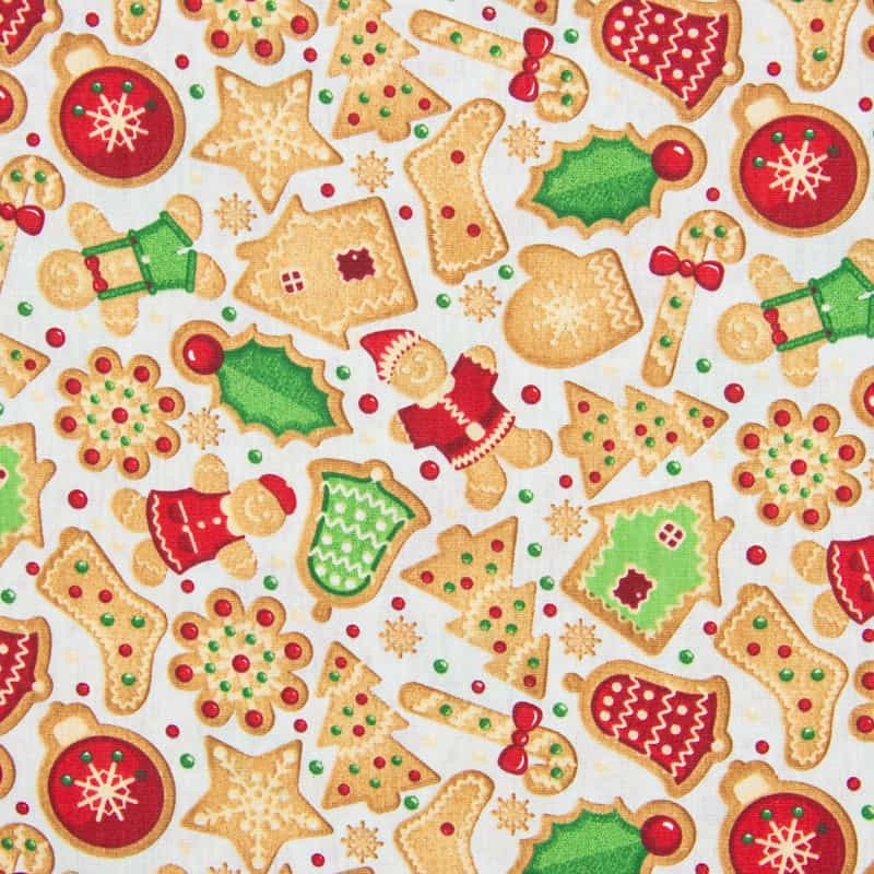 Tecido Tricoline Estampado Natal - Cookies - 50cm X150cm