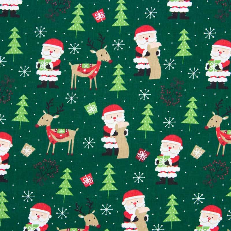 Tecido Tricoline Estampado Natal - Noel Verde - 50cm X150cm