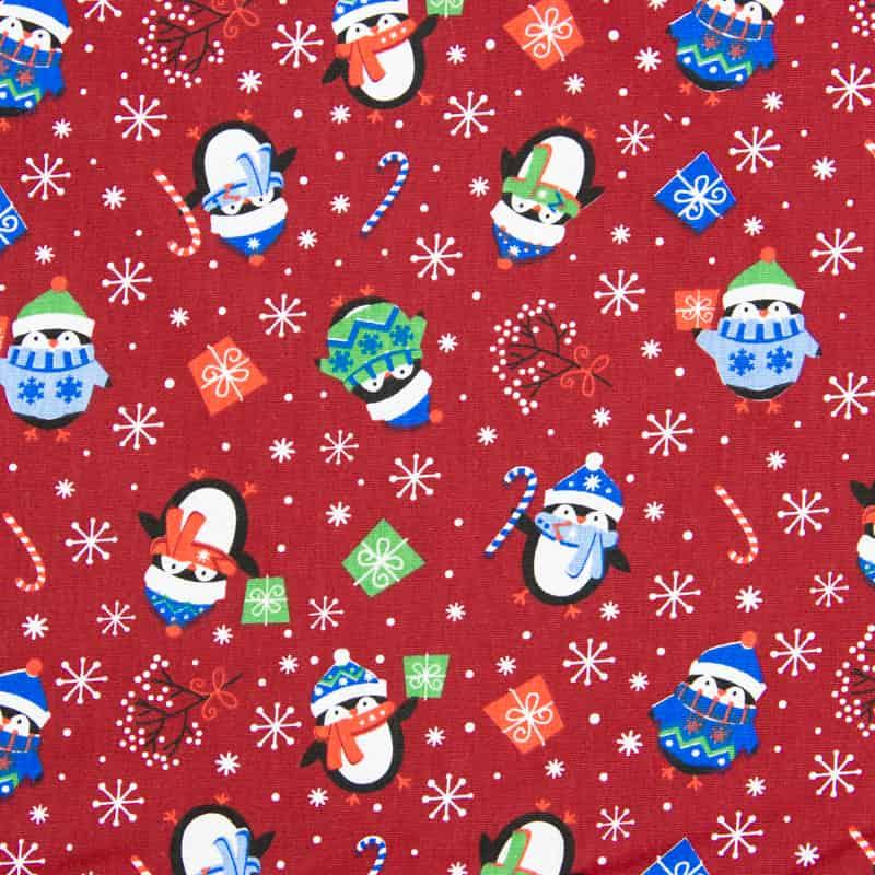 Tecido Tricoline Estampado Natal - Pinguim Vermelho - 50cm X150cm