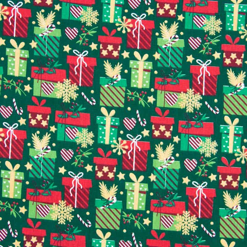 Tecido Tricoline Estampado Natal - Presentes Verde - 50cm X150cm